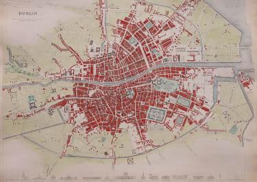 EXCELLENT PLAN OF DUBLIN  S.D.U.K.  HAND COLOUR  1836