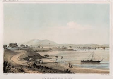 VIEW OF BENECIA CAPITAL OF CALIFORNIA 1853   TINTED LITHOGRAPH 1857