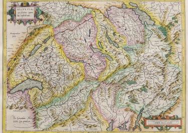 MERCATOR'S FOLIO MAP OF SWITZERLAND  1610c