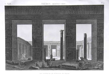 EGYPT LUXOR THEBES MEDYNET-ABOU VUE INTERIOR DU PERISTYLE DU PALAIS