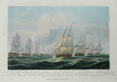 MARINE THE THESEUS,CAPT J.BERESFORD LEADING THE BRITISH SQUADRON...