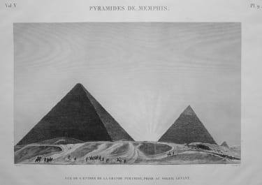 EGYPT THE PYRAMIDS PYRAMIDES DE MEMPHIS VUE DE L'ENTREE DE LA GRANDE PYRAMIDE PRISE AU SOLIEL LEVANT