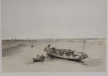 SLAVE BOAT ON THE NILE  VIEW LOOKING TOWARDS THE PYRAMIDS OF DASHOUR AND SACCARA ..DAVID ROBERTS