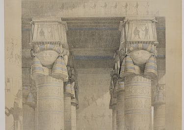 VIEW FROM UNDER THE PORTICO OF THE TEMPLE OF DENDERA  ..DAVID ROBERTS