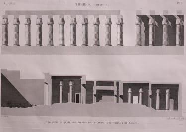 EGYPT  THEBES LUQSOR TROISIEME...COUPE LONGTITUDINALE DU PALAIS