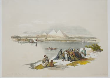 EGYPT   PYRAMIDS OF GEEZEH FROM THE NILE