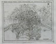 PARIS MAP PLAN DE LA VILLE,CITE,UNIVERSITE ET FAUXBOURGS DE PARIS