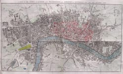 LONDON MAP A PLAN OF THE CITIES OF LONDON AND WESTMINSTER AND BOROUGH OF SOUTHWARK WITH THE NEW BUILDINGS 1767