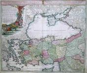 TURKEY BLACK SEA CARTE DE L'ASIE MINEURE OU DE LA NATOLIE ET DU PONT EXIN