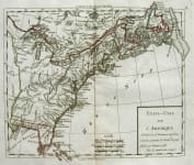 UNITED STATES ETATS-UNIS DE L'AMERIQUE DIVISEE EN PROVINCEES AVEC LEURS LIMITES,SUIVANT LE TRAITE DE PAIX FAIT LE 20 JANVIER 1783