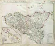 SICILY CARTE DE L'ISLE ET ROYAUME DE SICILE