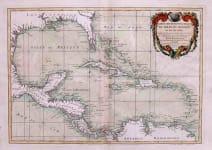 WEST INDIES CARTE GEO-HYDROGRAPHIQUE DU COLFE DU MEXIQUE ET SES ISLES