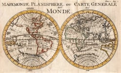 WORLD MAPEMONDE, PLANISPHERE OU CARTE GENERALE DU MONDE