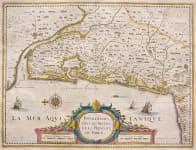 JANSSONIUS' MAP OF BORDEAUX BAYONNE BIARRITZ   WINE AREAS MEDOC ETC