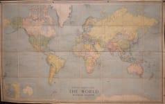 VERY LARGE WORLD MAP .. BRITISH EMPIRE  AMUNDSEN & SCOTT