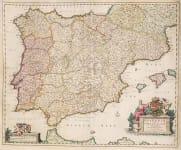 GOOD ORIGINAL COLOUR MAP OF SPAIN BY VISSCHER