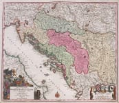SEUTTER'S MAP OF THE BALKANS CROATIA SLOVENIA ISTRIA