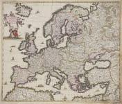 DE WIT'S ORIGINAL COLOUR MAP OF EUROPE