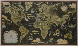 RARE AIR FRANCE ORIGINAL WORLD MAP TRAVEL POSTER  BY BOUCHER 1948