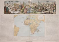 RARE DECORATIVE WALL MAP OF AFRICA BY J. P. MORALES