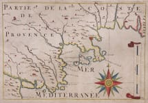 RARE MAP OF THE CANNES ANTIBES AREA