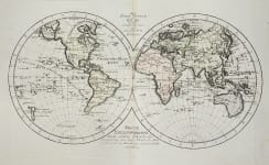 REILLY'S ANTIQUE MAP OF THE WORLD   IN HEMISPHERES