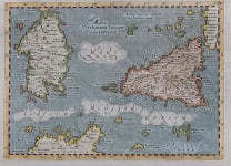 MAGINI'S EARLY MAP OF SICILY & SARDINIA