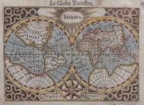 LANGENES  HONDIUS ANTIQUE MAP OF THE  WORLD