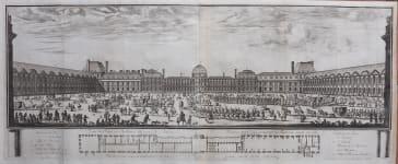 RARE PANORAMA BY SYLVESTRE OF THE LOUVRE PARIS