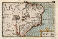 ANTIQUE MAP OF BRAZIL LANGENES