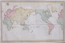 STUNNING WORLD MAP OF THE VOYAGE OF LA PEROUSE 1785, 86,87 ET 88