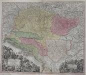 SEUTTER MAP OF HUNGARY, THE BALKANS & DANUBE
