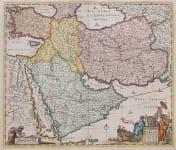 DE WIT'S SUPERB MAP OF THE MIDDLE EAST ORIGINAL COLOUR