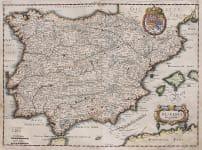 MERIAN'S 1638 MAP OF SPAIN