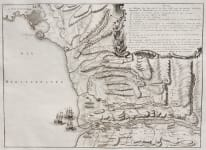 VERY RARE MAP  PLAN OF THE FRENCH COAST.. ANTIBES TO THE VAR RE 1746 BATTLE FRANCE AUSTRIAN EMPIRE.