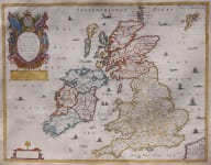 BLOME'S MAP OF BRITISH ISLES   EARLY ENGLISH FOLIO MAP