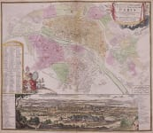 HOMANN'S SCARCE PLAN AND PANORAMA OF PARIS