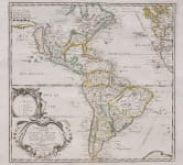 DU VAL SUPERB MAP OF THE AMERICAS  CALIFORNIA ISLAND