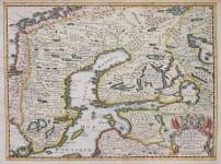 SCARCE VAN DER AA MAP OF SWEDEN FINLAND