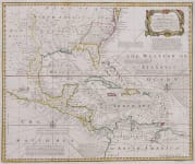 EMAN. BOWEN RARE MAP OF GULF AND SOUTHERN UNITED STATES   ENGLISH TEXT