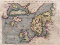 MAGINI'S MAP OF THE NORTH ATLANTIC 1597 FICTICIOUS ISLANDS   BASED ON ORTELIUS