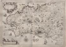 TASSIN  RARE DECORATIVE MAP OF BRITTANY 1637
