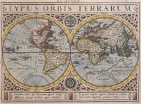 MERCATOR HONDIUS WORLD MAP  CALIFORNIA ISLAND  FROM ATLAS MINOR