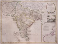 INDIA  BY VAGOUNDY  LAMARCHE FAMOUS ELEPHANT CARTOUCHE MAP