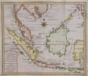 JAVA  BORNEO  SUMATRA   SCARCE DUTCH BELLIN MAP 1760