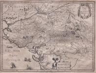 HONDIUS FOLIO MAP OF POITOU LA ROCHELLE   NANTES