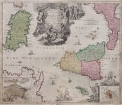 HOMANN  STUNNING MAP OF SICILY AND SARDINIA
