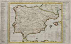 SPAIN SCARCE DELISLE MAP OF SPAIN AND PORTUGAL   1743