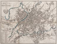 RARE FOLDING MAP OF MANCHESTER 1828