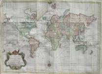BELLIN WORLD MAP ESSAY D'UNE CARTE REDUITE LES PARTIES CONNUES DU GLOBE TERRESTE